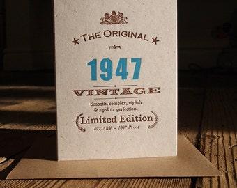 Vintage Celebrations: 70th Seventieth 1947 birthday letterpress greetings card invitation