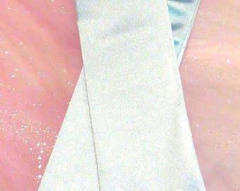 Light blue elbow length gloves