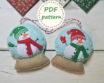 Felt SnowGlobe, Felt SnowGlobe Pattern, Felt Snowman Pattern, Felt Pattern, Felt Ornament Pattern, Christmas Ornaments, PDF Felt Pattern