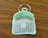 Gray and mint green crochet keychain quarter keeper
