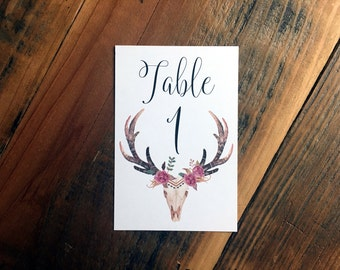 Wedding Table Numbers, Calligraphy Style Table Numbers, Deer Skull Table Numbers, Tribal skull Table Numbers, Watercolor Antler Table Number