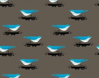 Pre-Sale- Mountain Blue Bird- Organic Cotton Fabric - Charley Harper Western Birds for Birch Fabrics