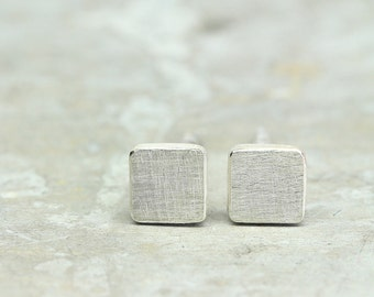 Ear plug SQUARE 925 Silver, square ear studs, can vary in size