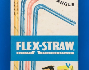 Vintage Packet of Flex-Straw Paper Drinking Straws 1960s illustrated Design Packaging with Contents