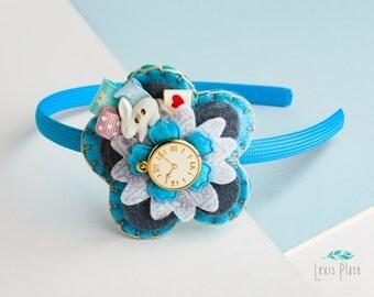 Alice in wonderland hairband, Whimsical band, Alice in wonderland accessory, Flower hairband, Pocket watch accessory, Wonderland hairband