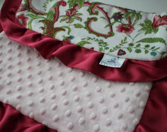 Sweet Pea Multi Color Floral Print with Blush Pink Minky Dot Back LOVIE, Soft Satin Cranberry Ruffle Trim
