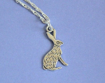 Silver Rabbit Necklace,Rabbit Pendant,Rabbit Charm,Silver Rabbit,Silver Pendant,Rabbit Jewellery,Silver Charm,Tibetan Silver,Bunny Charm