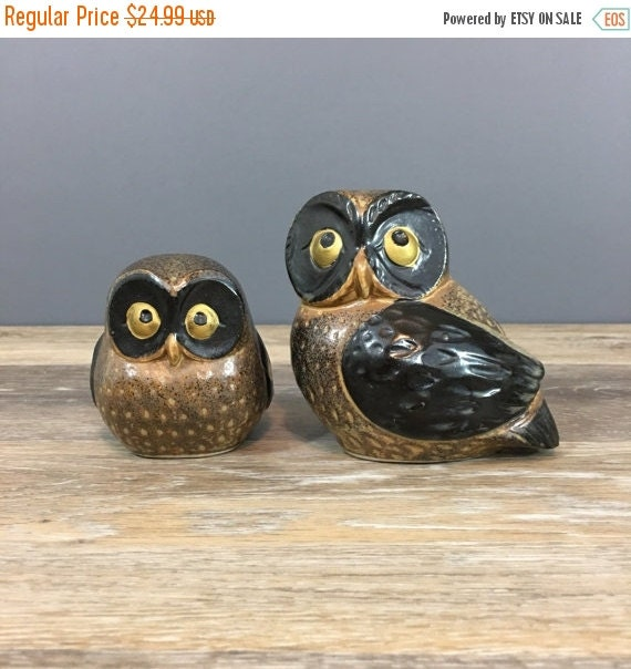 ON SALE Vintage Otagiri Japan Ceramic Owl Figurines, Set of Two, Vintage Owl Home Decor