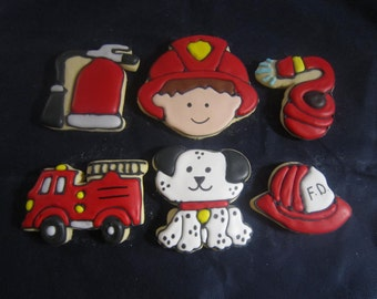 12 Fire Fighter Decorated Cookie Set