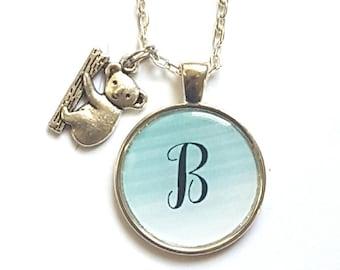 Personalized Initial Koala Bear Necklace