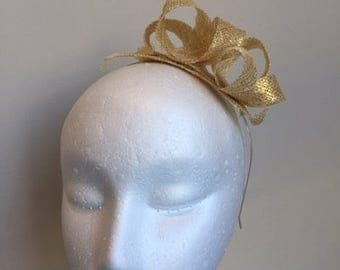 Simple and gorgeous NEW Gold loop fascinator on a metal headband.