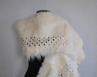 Vintage RABBIT FUR SHAWL , rabbit fur collar......(034)