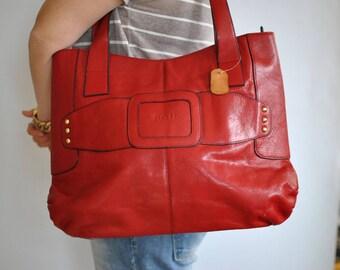 Vintage LEATHER HANDBAG , women's leather bag.....(159)