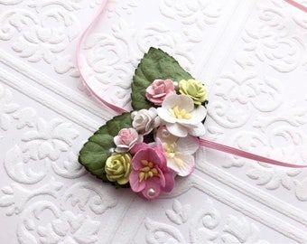 The Pink, Green, and White Fairy Kissed Headband/Hair Clip