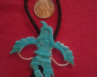 Zuni Native American Indian Jonathan Beyuka Eagle Kachina Dancer Bolo Tie, Sterling, Sleeping Beauty Turquoise, Pristine, Big, Bold, Rare