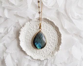 Large Gemstone Necklace, Stone Necklace, Precious Stone, Precious Stone Necklace, Precious Gem Necklace, Long Stone Necklace