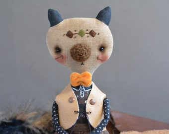 Stuffed cat doll - Soft cat toy - Art doll - Handmade doll - Rag doll - Fabricdoll - Textile doll - OOAK - Embroidered - Cat boy.