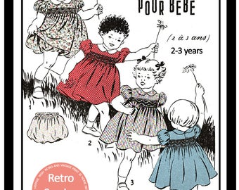 Toddlers 2-3 yrs  Smocked Dress 1950s French Sewing Pattern - Paper Pattern
