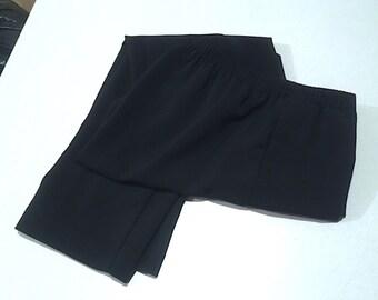 Vintage 1980's Pocketed Black Elastic Waist Pants, Ladies Tapered Leg TanJay Slacks, Women's Polyester Dress Slacks, Black Ladies Trousers