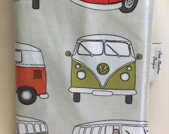 A5 diary cover,book cover,journal cover,week to view diary cover,campervan multi oilcloth
