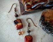 Thanksgiving Week Sale Gemstone earrings, jasper dangle earrings, antique copper, Swarovski crystals, red creek jasper