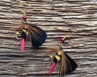 Bumble bee fly earrings: fly fishing fly earrings, trout fly earrings, steelhead earrings, salmon fly earrings