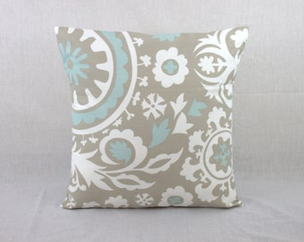 Toss Pillow Cover (2) - Gray and Blue Pillow Covers for Couch