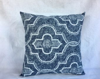 Couch Pillows - Pillow Covers - White and Navy Pillow Cover - Pillow Covers 18x18