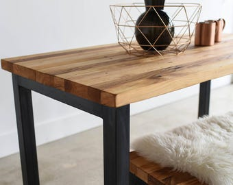 Modern Industrial Dining Table / Steel Post Legs + Butcher Block Kitchen Table