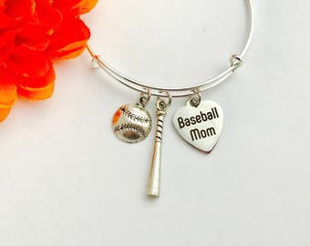 Baseball mom bracelet bangke on a Silver adjustable Bangle / baseball player - bat -baseball -  / great gift / stackable bangles