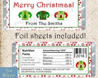 UGLY SWEATER Christmas Party Candy Bar Wrappers with Foil Sheets Favors Custom Personalized