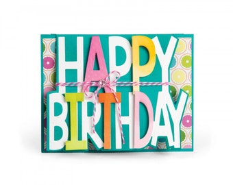 New! Sizzix Framelits Die Set 3PK - Card, Happy Birthday Drop-ins by Stephanie Barnard