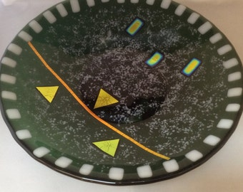 Fused Glass Bowl with Foot - 12 inch round