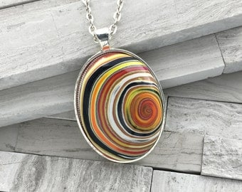 Sunset swirl polymer clay pendant | Large oval pendant