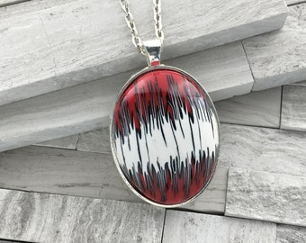 Red and black flame pendant | Polymer clay oval pendant