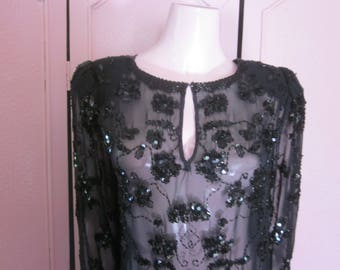 1980s Black Chiffon Tunic with Black Glass Beading, Size M