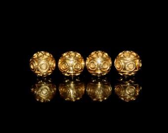Four 9mm 22 Karat Gold Vermeil Bali Beads, Gold Vermeil Wire Work Beads, Gold Vermeil Beads, Gold Beads, Gold Plated Beads, Beads
