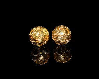 Two 12mm Gold Vermeil Granulation Beads, Vermeil Bali Beads, 12mm Bali Beads, 12mm Gold Beads, Gold Vermeil Bali Beads, 12mm Vermeil Beads