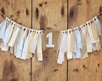 Highchair banner blue tan ivory, Rag Tie Banner, Burlap, Vintage, Shabby Chic, Rag Tie Garland, Photo Prop, Nursery, Boy, 1st birthday