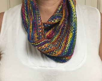 Multi Color Hand Knit Cowl