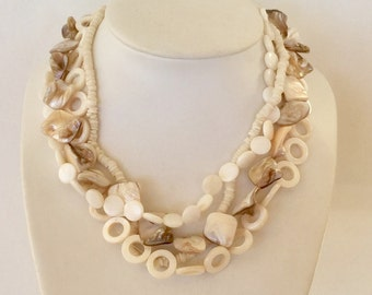 Beachy statement necklace mother of pearl and sterling silver