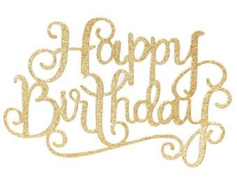 Happy Birthday Cake Topper Gold glitter 1st Birthday cake topper.