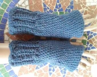 Crochet Fingerless Gloves- Madeleine Denim