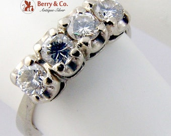 Four Stone Brilliant Cut Diamond Ring Engagement 14K Gold