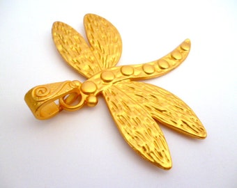 Matt Golden Dragonfly Charm pendant_CO54312008458/BGPA_Lagre Charms _Matt Gold Dragonfly of 65x72 mm_ pack 1 pcs