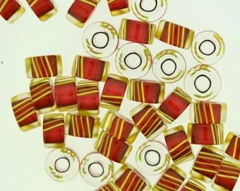 Furnace Glass Beads, 42 Medium size Slices, Cranberry Red with Yellow Stripes # 4