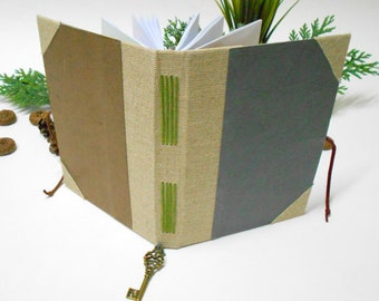 Travel burlap sketchbook journal with color art paper hardcovers- Choose 100 or 200 pages-100% recycled- Choose binding color- Eco friendly