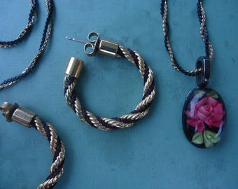 Rose Necklace and Earrings Set