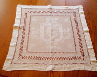 Rayon Damask Needle Drawn Elaborate Table Topper