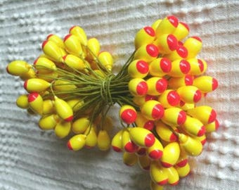 4 bunches PEPS RED+yellow large STAMENS wired stems floral supplies crafts